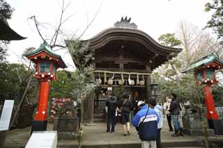 photo, la mati�re, libre, am�nage, d�crivez, photo de la r�serve,Temple Eshima temple Okutsu, lanterne, Feston de la paille shinto�ste, appendice en papier, Shinto�sme