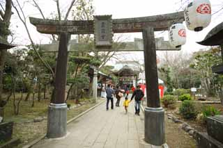 photo, la mati�re, libre, am�nage, d�crivez, photo de la r�serve,Temple Eshima temple Okutsu, lanterne, torii, Une approche � un temple, Shinto�sme