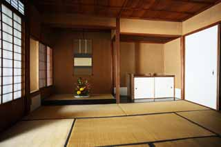 photo,material,free,landscape,picture,stock photo,Creative Commons,A person of Meiji-mura Village Museum east pine house, tokonoma, tatami mat, Japanese-style room, sliding paper-door