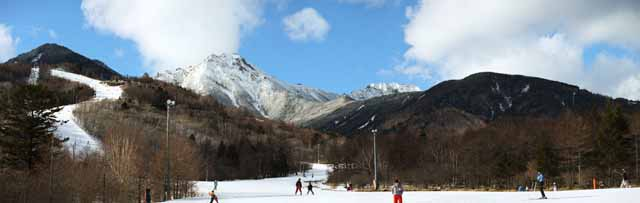 photo, la mati�re, libre, am�nage, d�crivez, photo de la r�serve,Yatsugatake, Yatsugatake, inclinaison, ski, piste