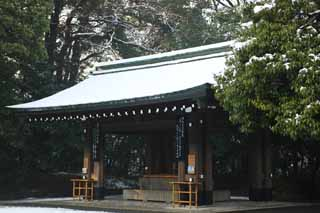 photo, la mati�re, libre, am�nage, d�crivez, photo de la r�serve,Les installations de Temple Meiji, L'empereur, Temple shinto�ste, torii, Neige