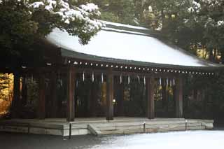 photo, la mati�re, libre, am�nage, d�crivez, photo de la r�serve,Temple Meiji Mai, L'empereur, Temple shinto�ste, torii, Neige