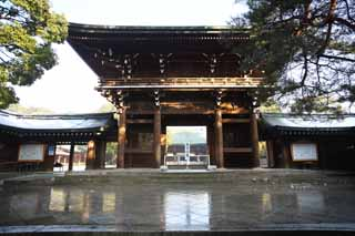 photo, la mati�re, libre, am�nage, d�crivez, photo de la r�serve,Porte de la tour de Meiji Temple, L'empereur, Temple shinto�ste, torii, Neige