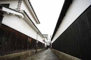 photo, la mati�re, libre, am�nage, d�crivez, photo de la r�serve,All�e Kurashiki, Culture traditionnelle, Architecture de la tradition, Le pl�tre, le mur a couvert des carreaux carr�s et articul� avec pl�tre lev�