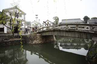 photo, la mati�re, libre, am�nage, d�crivez, photo de la r�serve,Kurashiki Kurashiki rivi�re, Culture traditionnelle, pont de pierre, Japonais fait une culture, L'histoire