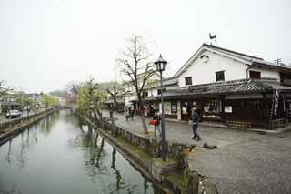 photo, la mati�re, libre, am�nage, d�crivez, photo de la r�serve,Kurashiki Kurashiki rivi�re, Culture traditionnelle, saule, Japonais fait une culture, L'histoire