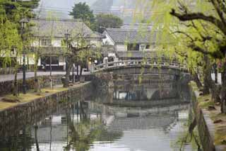 photo, la mati�re, libre, am�nage, d�crivez, photo de la r�serve,Kurashiki Nakahashi, Culture traditionnelle, pont de pierre, saule, L'histoire
