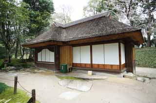 photo, la mati�re, libre, am�nage, d�crivez, photo de la r�serve,Koraku-en jardin Kankitei, toit paille-de chaume, shoji, Pi�ce du Japonais-style, Architecture de la tradition