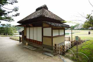 photo, la mati�re, libre, am�nage, d�crivez, photo de la r�serve,Koraku-en Jardin, toit paille-de chaume, shoji, Pi�ce du Japonais-style, Architecture de la tradition