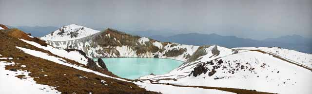 photo, la mati�re, libre, am�nage, d�crivez, photo de la r�serve,Kusatsu Mt. Bouilloire Shirane, volcan, ciel bleu, Neige, Bave balancent